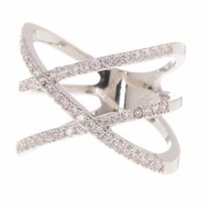 Nordstrom Double X Pave CZ Ring Silver NWT Size 8